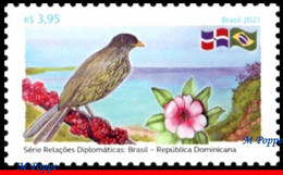Ref. BR-V2021-03 BRAZIL 2021 - WITH DOMINICAN REPUBLIC,, BIRDS, FLOWERS, BEACH, MNH, RELATIONSHIP 1V - Songbirds & Tree Dwellers