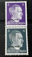 1941 Nazi Germany Occupied Russia Hitler Head Stamps Se-Tenant Pair Ostland  MNH - Gebruikt