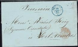 Espagne - Lettre De Alicante Du 30 Mars 1857 A Destination De Port Vendres - B/TB - - Covers & Documents