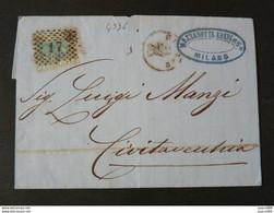 """4936 ITALIA Regno-1867- """"L 26 Londra Effigie"""" C. 20 MILANO>CIVITAVECCHIA (descrizione) - Storia Postale"""