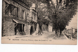 CPA 28 LL.-Mantes Porte Aux Prêtres Et Quai Des Cordeliers Recto-verso Semeuse Verte 15c - Mantes La Ville