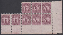 1911-1919. SVERIGE.   8 öre Gustav V In 8-block Never Hinged. () - JF418569 - Unused Stamps
