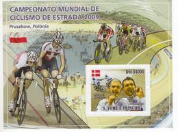 S.Tomé E Principe 2009 - World Champions - Michael Morkov - Alex Rasmussen  - 1v Feulliet  Neuf/MNH/Mint - Cyclisme