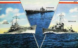 ►  Bateau Navire De Guerre -   Battleship US Navy Recruiting Bureau Card AS-4 - Warships