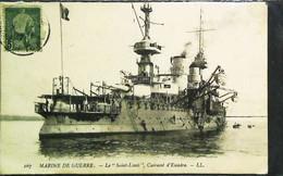 ►  Bateau Navire De Guerre - Cpa Timbre  Régence De TUNISIE 1903 - Cuirassé Français SAINT LOUIS - Guerra
