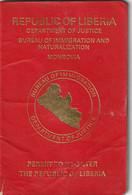 LIBERIA Re-entry Permit (Passport) – Permis De Retour (Passeport) UNISSSUED SPECIMEN - Documentos Históricos
