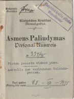 MEMEL Passport 1935 Passeport - Ausweis - Documentos Históricos