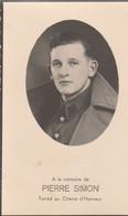 ABL, Pierre Simon Né à Thiméon Le 3 Février 1919 Tombé Au Champ D'honneur à Willenstraat ( Hollande ) Le 30 Mai 1940 - Todesanzeige