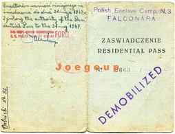Military Card Residential Pass Polish Army Enclave Camp Falconara Italia 1947 Demobilized - Documents