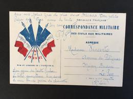 Carte En Franchise Militaire «Honneur Patrie « Vive La France - Lettere In Franchigia Militare