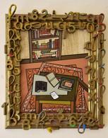 Biblios Tableau Acrylique Signé S Ansel  Thème Livres écriture Avec Cadre Orné De Chiffres Et Lettres - Acrilici