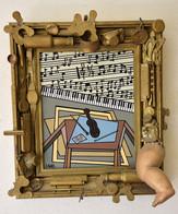 Compositon Musicale Tableau Acrylique Signé S Ansel  Thème Musique Avec Cadre Orné De Petits Objets Divers - Acrilici