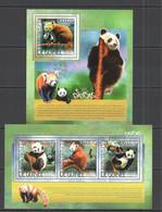 ST757 2014 GUINEE GUINEA FAUNA WILD ANIMALS BEARS PANDAS 1KB+1BL MNH - Bears