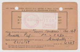 Carte D'abonnement à La Poste Restante Utilisée Référence J.A.920473 Tarif à 15 F 1968 Machine De Guichet Camp - Documenti Della Posta