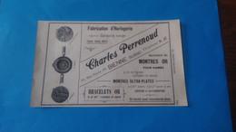 Vieux Papiers Horlogerie Charles Perrenoud Bienne 1914 Suisse - Advertising