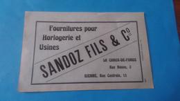 Vieux Papiers Sandoz Fils Et Co Bienne La Chaux De Fonds 1914 - Advertising