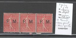 France - Yvert 6** - Semeuse 50 Centimes FM - Bande De 3 - SANS POINT APRES M  ET UN POINT AVANT F - Varieties: 1900-20 Mint/hinged