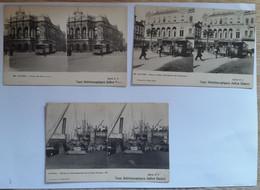 3 Cartes Postales Vues Stéréoscopique Julien Damoy Anvers Série N°3 - Stereoscopische Kaarten