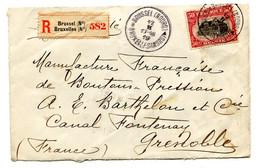 RC 21019 BELGIQUE 1919 LETTRE RECOMMANDÉE DE BRUXELLES POUR GRENOBLE FRANCE COVER ( VOIR DESCRIPTION ) - Covers & Documents