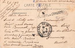 Marcophilie 1919 Cachet Manuel Horizontal Clichy La Garenne Sur Cpa En Franchise Militaire - 1877-1920: Semi Modern Period