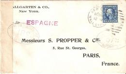 """U.S.A.  Lettre De NEW-YORK Pour La FRANCE . 1916 . Timbre N° 203 PERFORE H&CO ( HALLGARTEN & CO)  """""""" CENSURE """""""" - Storia Postale"""