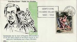 """Centenaire De La Mort D' Eugène Delacroix  """"Lutte De Jacob Avec L'Ange"""" - 1er Jour D'émission - 1961-...."""