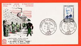 Vad155 ⭐ FDC N°332-B 1er Jour Emission Leonce VIELJEUX Héros Résistance Réseau ALLIANCE Exécuté 09-1944 PARIS 26-03-1960 - 1960-1969