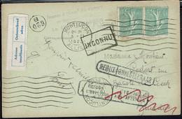 """Fr - 1923 - Paire Semeuse 30 C Sur CPA """"Montluçon, Tour Fouquet"""" Pour Bruxelles - Inconnu, Retour Envoyeur, Rebut - B/TB - Cartas"""