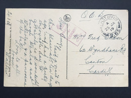 GB George V 1919 WW1 Postcard Army Post Office S65 - Euskirchen Germany With Censor Cachet To Cardiff - Covers & Documents