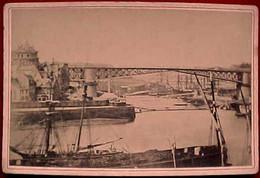 XIX è , Rare , 29 . BREST PONT TOURNANT Sur La PENFELD à BRAS MOBILES . VOILIER . Photographie Originale De 1878 CDV - Places