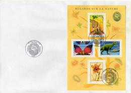 Enveloppe - Regards Sur La Nature. Allosaure, Girafe, Papillon. Premier Jour Bloc-feuillet Oblitération Paris 06/2000 - Covers & Documents