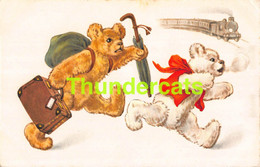 CPA ILLUSTRATEUR OURS TRAIN ARTIST SIGNED BEAR TEDDY - Bears