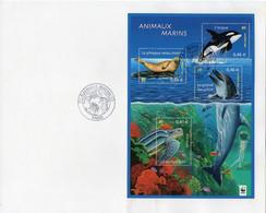 Animaux Marins. Phoque, Orque, Dauphin, Tortue Luth. Premier Jour Bloc-feuillet Oblitération Paris 05/2002 - Used Stamps