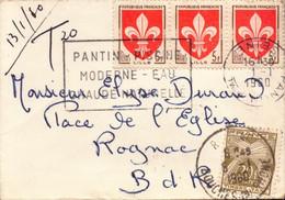 Lettre, Blason Lille Bande De Trois + Taxe, Pantin Pour Rognac, 1960 (bon Etat)  Petite Enveloppe. - 1921-1960: Modern Period