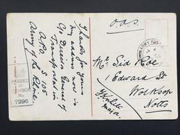 GB George V 1919 WW1 Postcard APO S105 Rotterdam Postmark With Censor Cachet - Covers & Documents