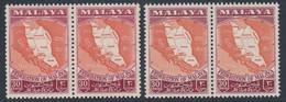 Federation Of Malaya 1957 30c SG 4 & 4b UMM Pairs - Federation Of Malaya
