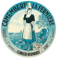 ETIQU.CAMEMB. LA FERMIERE Sté LAIT. Des FERMIERS NORMANDS AUNAY S ODON Calvados - Kaas