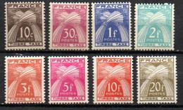 Type Gerbes Avec Légende Timbre-Taxe, 8 Valeurs ** : 10c 30c 1f 2f 3f 5f 10f Et 20f - 1859-1955 Nuevos