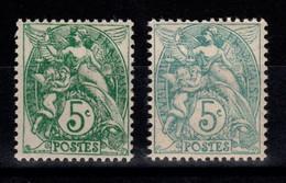 Type Blanc - YV 111 N** , Un Vert Et Un Vert-bleu - Unused Stamps