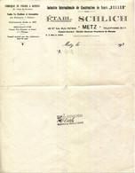 57.MOSELLE.METZ.FABRIQUE DE FOURS A VAPEUR POUR BOULANGERIES & PATISSERIES.Ets.SCHLICH 49 & 54 RUE PETAIN. - Ohne Zuordnung