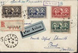 Algérie Recommandé Par Avion YT Pionniers Sahara N° 149 à 152 CAD Alger RP 8 6 39 Cachet Vu Le Contr Vérification Taxe - Briefe U. Dokumente