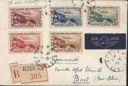 Algérie Recommandé Par Avion YT 142 à 146 Centenaire Philippeville CAD Alger RP 5 11 38 Transit Alger Gare Section Avion - Brieven En Documenten