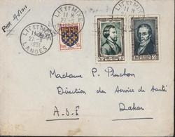 Par Avion YT 891 Musset + 893 Gay Lussac + 899 CAD Lit Et Mixe Landes 27 9 1951 Arrivée Dakar Sénégal 29 IX 51 - 1921-1960: Modern Period