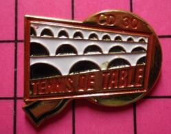 512c Pin's Pins / Beau Et Rare / THEME : SPORTS / TENNIS DE TABLE RAQUETTE PONT DU GARD PING-PONG CD30 - Tennis Tavolo
