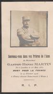 Militaria , Gaston - Henri Martin , Né à Lecelles Le 23 Mai 1882 ,mort Pour La France à Fleury Devant Douaumont ( Meuse) - Obituary Notices
