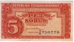 Billet De Banque Tchécoslovaquie 5 Koruna 1945 Comme Neuf #59 - Czechoslovakia