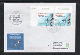 ICE HOCKEY -  SWITZERLAND - 2008 - ICE HOCKEY CHAMPIONSHIPS PAIR ON  ESSEN  COVER TO MUNICH - Hockey (Ice)