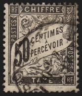 France Taxe N°20, Duval 50c Noir, Oblitéré - Aminci - COTE 240 € - 1859-1955 Gebraucht