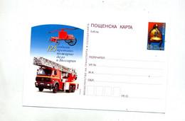 Carte Postale 0.18 Casque Pompier  Illustré Camion Pompier - Postales