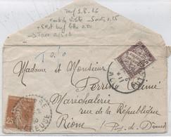 TAXE  : N°37 / LETTRE INSUFFISAMENT Affranchie -Tarif 9-8-26 : Carte De Visite  -5 Mots =0,25  +5Mots0,50 - 1859-1955 Briefe & Dokumente